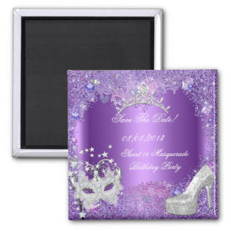 Save The Date Sweet 16 Masquerade Purple 2 Inch Square Magnet