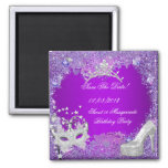 Save The Date Sweet 16 Masquerade Purple Pink 2 Inch Square Magnet