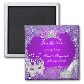 Save The Date Sweet 16 Masquerade Purple Pink Magnet