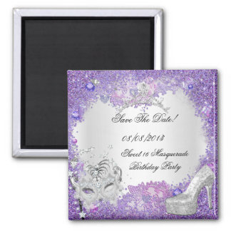 Save The Date Sweet 16 Masquerade Purple White 2 Inch Square Magnet