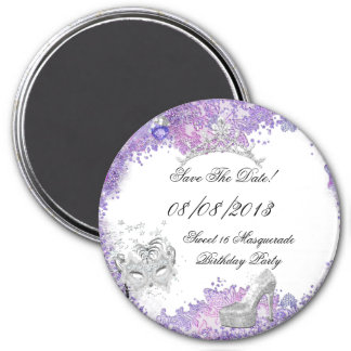 Save The Date Sweet 16 Masquerade Purple White 2 Magnet
