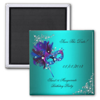 Save The Date Sweet 16 Masquerade Teal 2 Inch Square Magnet