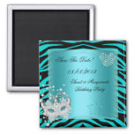 Save The Date Sweet 16 Masquerade Teal Zebra Refrigerator Magnet