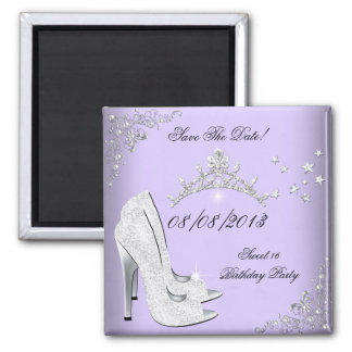 Save The Date Sweet 16 Purple High Heel Tiara 2 Inch Square Magnet