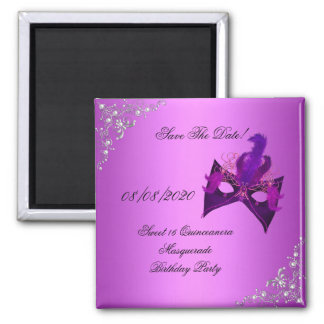 Save The Date Sweet 16 Quinceanera Masquerade Pink 2 Inch Square Magnet