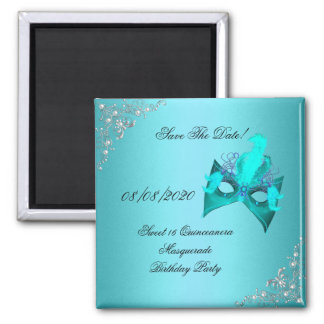 Save The Date Sweet 16 Quinceanera Masquerade Teal 2 Inch Square Magnet