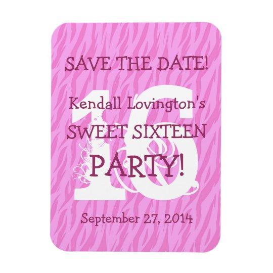 Save the Date Sweet 16 Zebra Birthday Celebration Magnet
