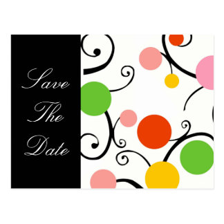 Save The Date Swirls and Whirls Postcard