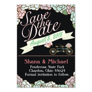muddymomdesigns Save the Date Tandem Bicycle Floral balloons black Card