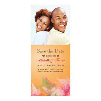 Save the Date - Tangerine Fuschia Floral Photo Card