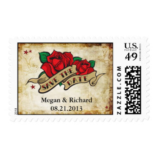 Save the Date Tattoo Rose Wedding Postage