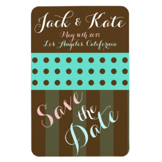 Save the Date Teal and Brown Gift Design Magnet