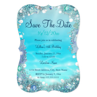 Save The Date Teal Blue Water Ocean Pearls Card