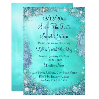 Save The Date Teal Ocean Jewel Sweet 16 Card