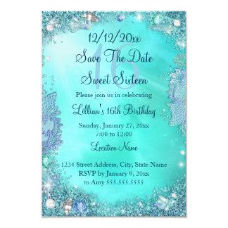 Save The Date Teal Ocean Jewel Sweet 16 Card