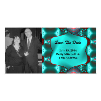 Save the Date Teal Red Abstract Design Card