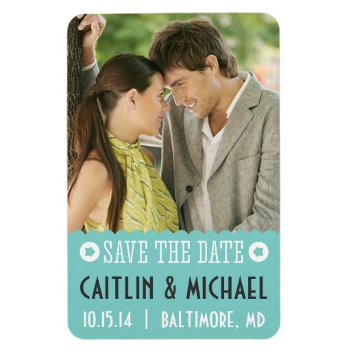 Save The Date Teal Scalloped Magnet