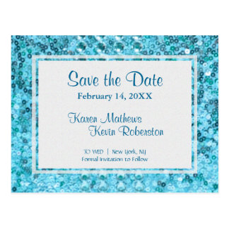 Save the Date | Teal Sequins Postcard