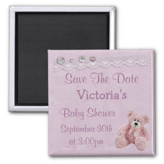 Save the Date Teddy Bear Baby Girl Shower Magnet