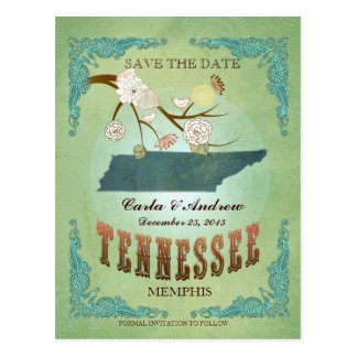Save The Date - Tennessee Map With Lovely Birds Postcard