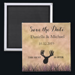 "Save the Date The Hunt is Over Wedding Magnet<br><div class=""desc"">Adorable Save the Date magnet from my ""The Hunt Is Over"" wedding collection.  Find it in my store.  Deer design hand drawn by ©Tina Hesskew of Fishing Hunting Life.</div>"