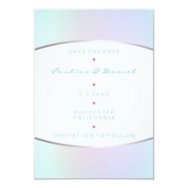 Beach Themed Save The Date Tiffany Aqua Purple Silver Pink Gray Card