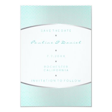 Beach Themed Save The Date Tiffany Ocean Aqua Silver Gray White Card