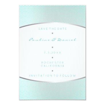 Beach Themed Save The Date Tiffany Ocean Aqua Silver Gray White Card