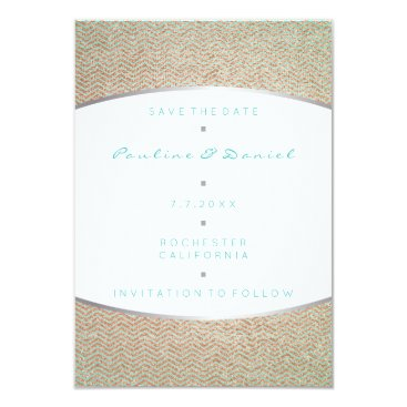 Beach Themed Save The Date Tiffany Ocean Aqua Silver Rose Gold Card