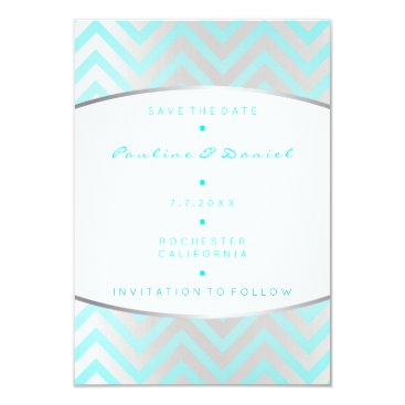 Beach Themed Save The Date Tiffany Ocean Blue Silver Gray White Card