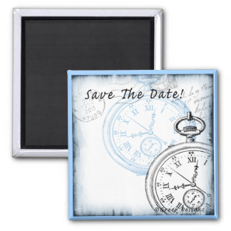 Save the Date Timepiece Pocketwatch Design 2 Inch Square Magnet