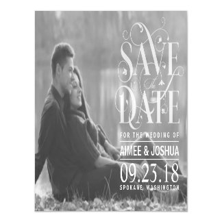 Save the Date Transparent Typography Photo Magnetic Card