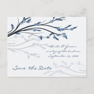 Save the Date - Tree Branch Silhouette Postcard