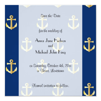 Save the Date - Trendy Nautical Anchor - Blue Gold Invitation