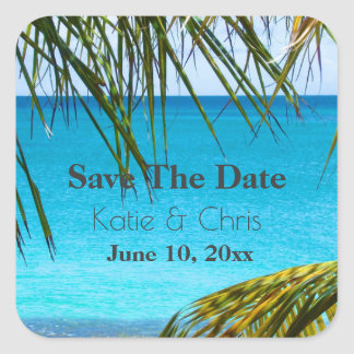 Save The Date Tropical Azure Beach and Palm Fronds Square Sticker