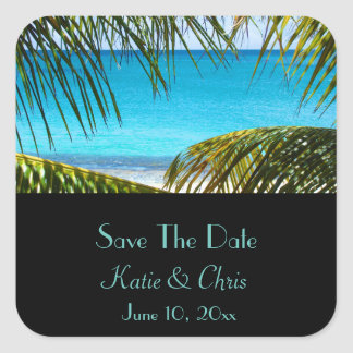 Save The Date Tropical Beach and Palm Fronds Square Sticker