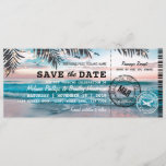 "Save the Date Tropical Beach Lights Boarding Pass<br><div class=""desc"">Beach destination save the date boarding pass with a tropical palm beach setting,  string twinkle lights,  and a modern wedding template.</div>"