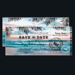 "Save the Date Tropical Beach Lights Boarding Pass Card<br><div class=""desc"">Beach destination save the date boarding pass with a tropical palm beach setting,  string twinkle lights,  and a modern wedding template.</div>"