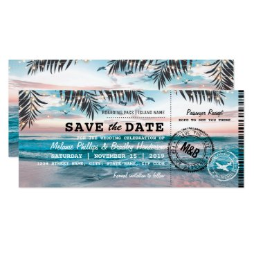 Beach Themed Save the Date Tropical Beach Lights Boarding Pass Card
