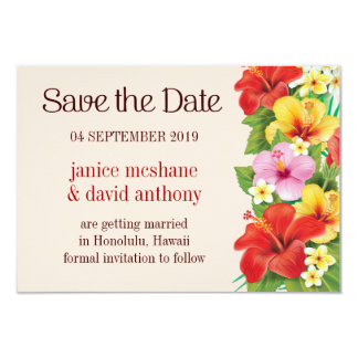 "Save the Date Tropical Beach Wedding - Hyacinth 3.5"" X 5"" Invitation Card"