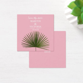 Save The date Tropical Palm Frond Leaf Wedding Square Business Card