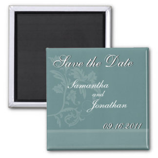 Save the Date Turquoise Blue Ribbon Magnet