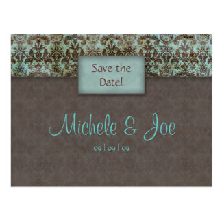 Save the Date Turquoise Brown Damask Postcard
