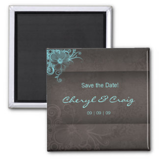 Save the Date Turquoise Brown Floral Magnet