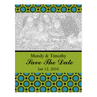 save the date Turquoise Green Postcard