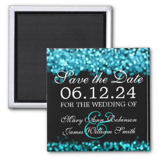 Save The Date Turquoise Lights 2 Inch Square Magnet