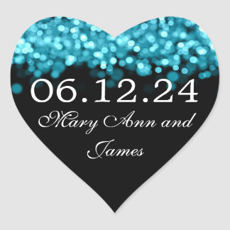 Save The Date Turquoise Lights Heart Sticker