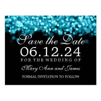 Save The Date Turquoise Lights Postcard