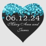 Save The Date Turquoise Lights Stickers