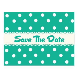 Save the Date Turquoise Polka Dot Photo Postcard